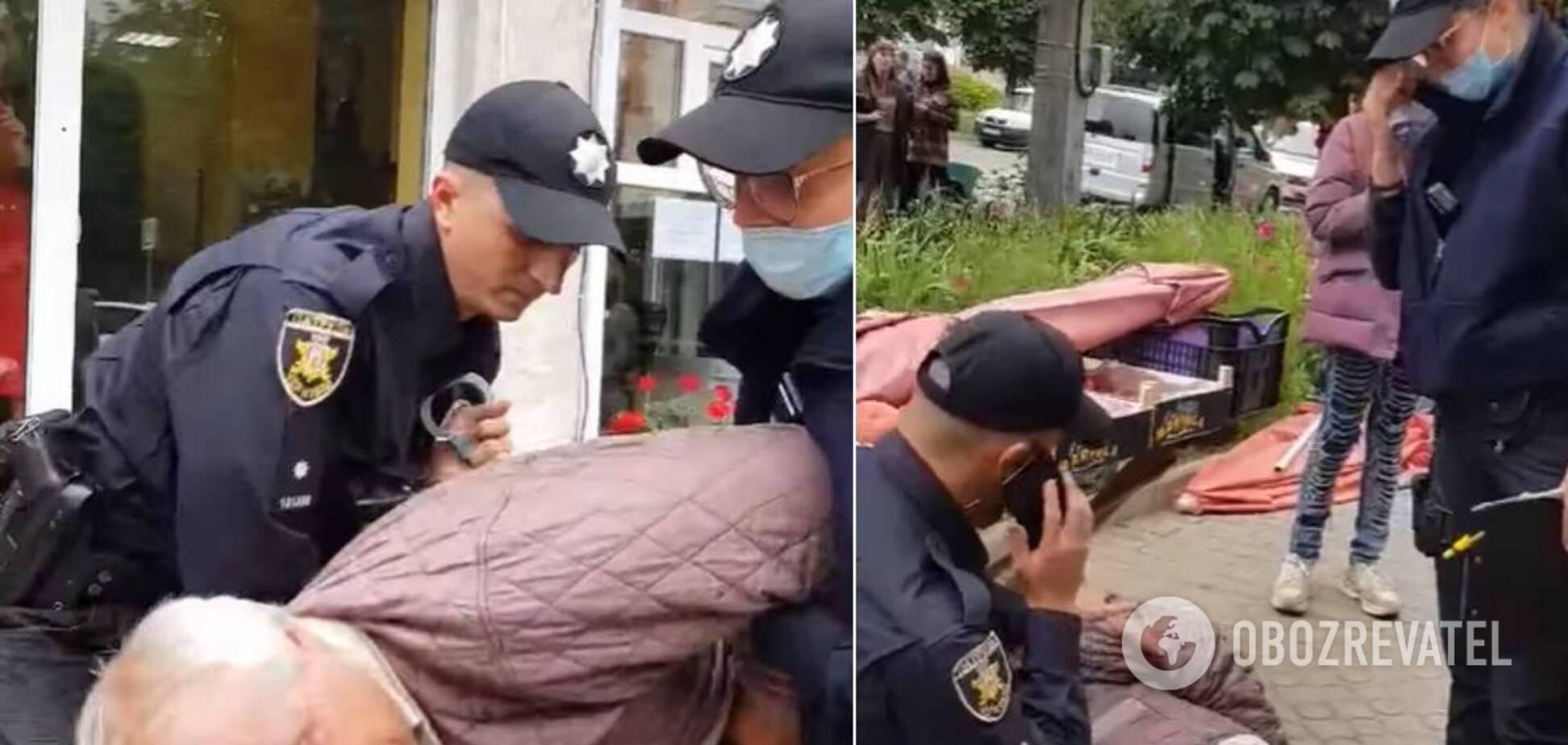 У Чернівцях поліцейські жорстко затримали пенсіонера за стихійну торгівлю: відео обурило українців