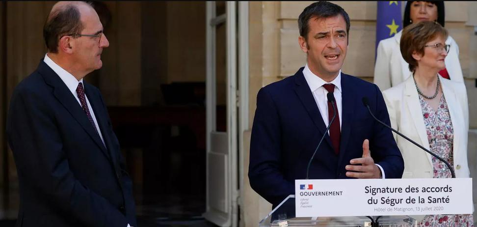 Міністр охорони здоров'я Франції Олів'є Веран і прем'єр-міністр Жан Кастекс