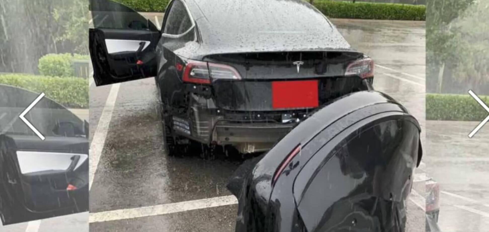 Электромобиль Tesla Model 3 потерял свой бампер прямо на ходу. Скриншот видео