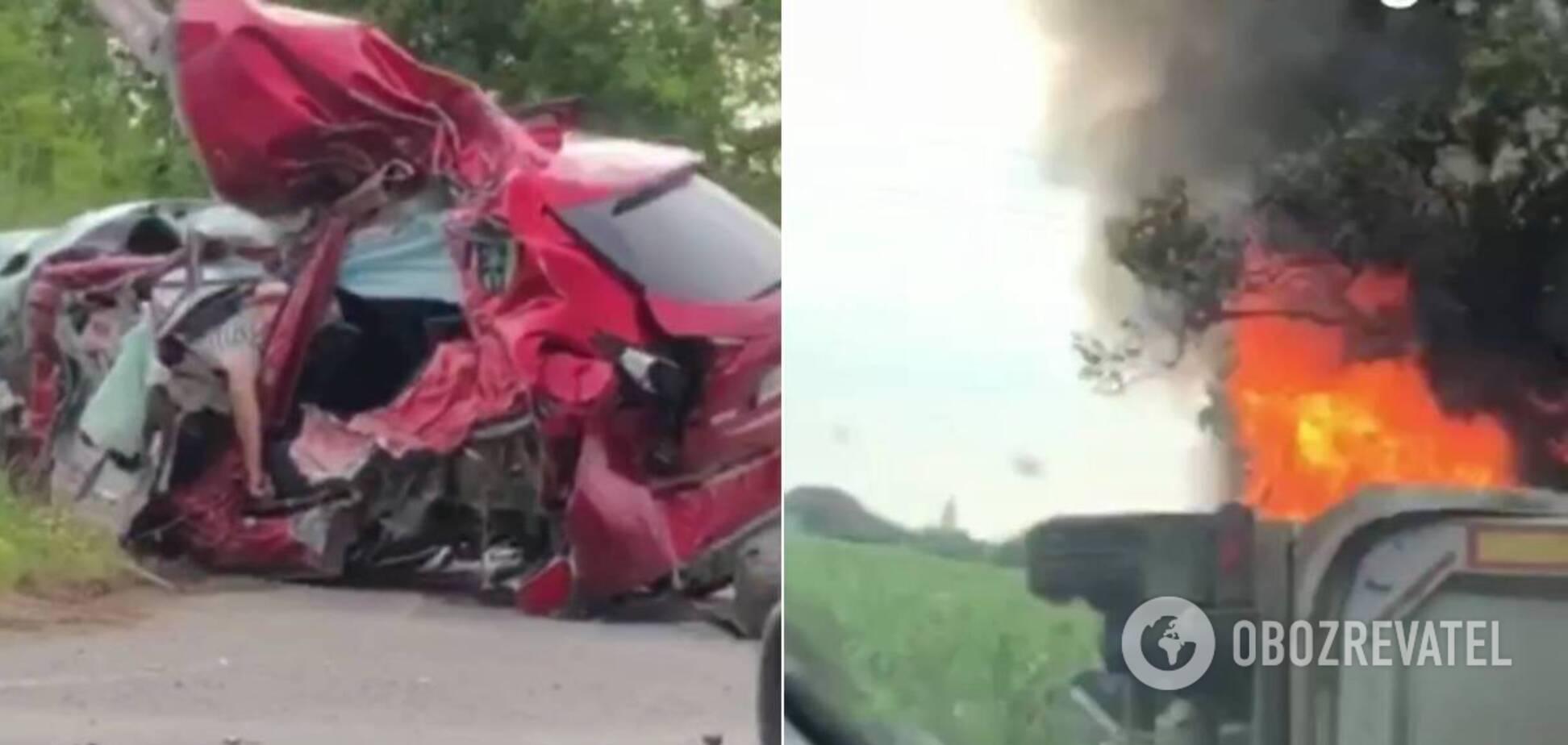 Під Мукачевом вантажівка розчавила Mazda, загинув тренер, дівчинка і хлопець. Відео з місця ДТП