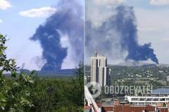 У оккупированного Донецка вспыхнул масштабный пожар