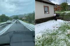 На курорті України випав великий град: дороги стали білими. Фото і відео