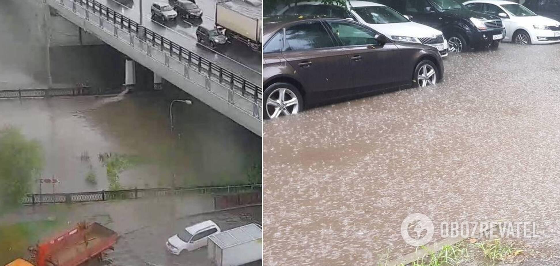 Москву затопило сильным ливнем
