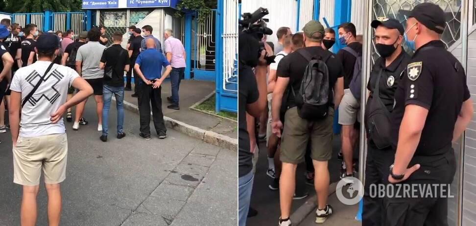 Протест ультрас під стадіоном 'Динамо' в Києві