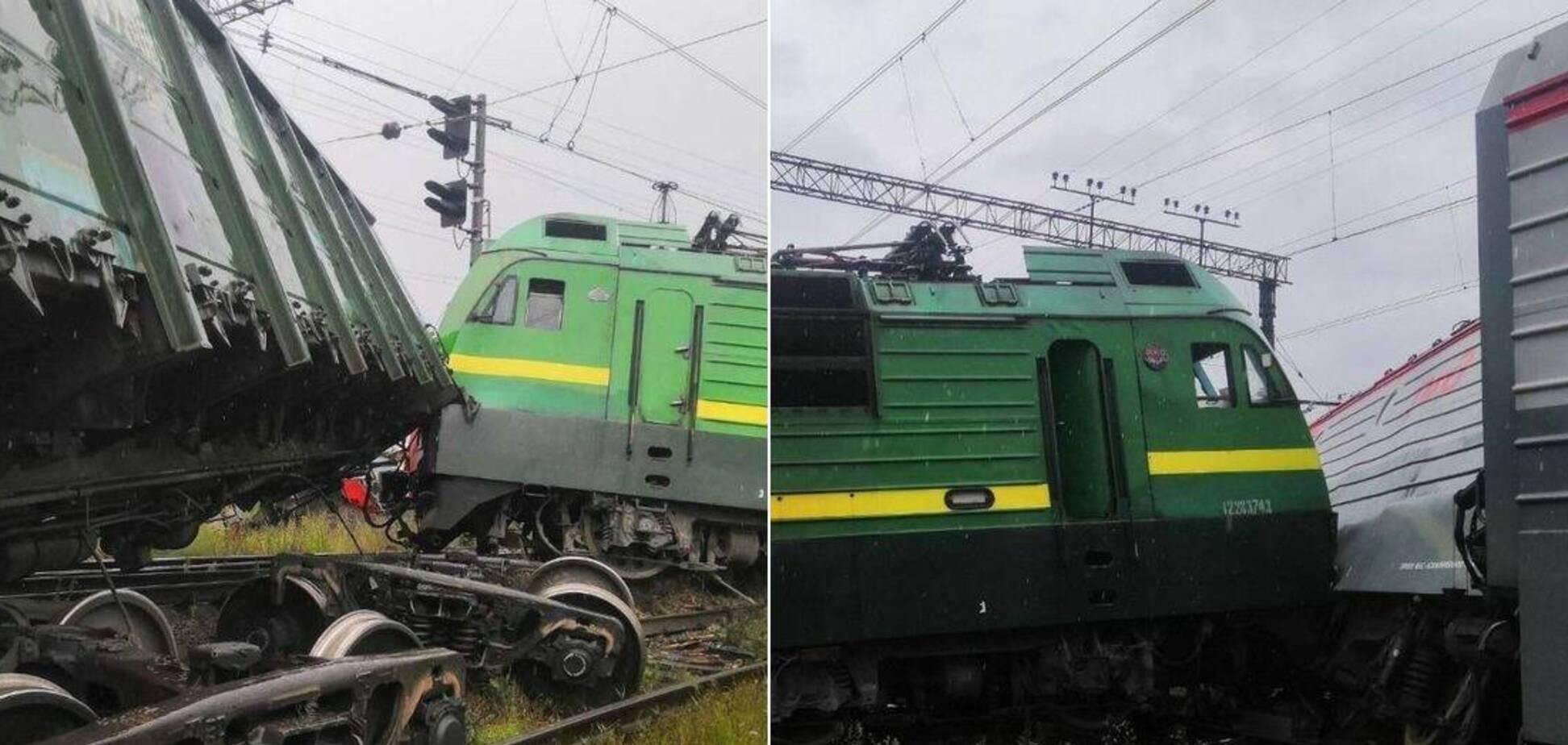 В Санкт-Петербурге столкнулись и сошли с рельсов два товарных поезда. Источник: РИА Новости