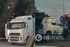 На трассе Киев-Харьков произошло ДТП с участием легковушки и грузовика