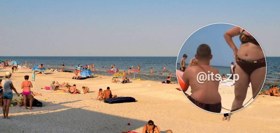 В Кириловке на пляже заметили ребенка 'на цепи'
