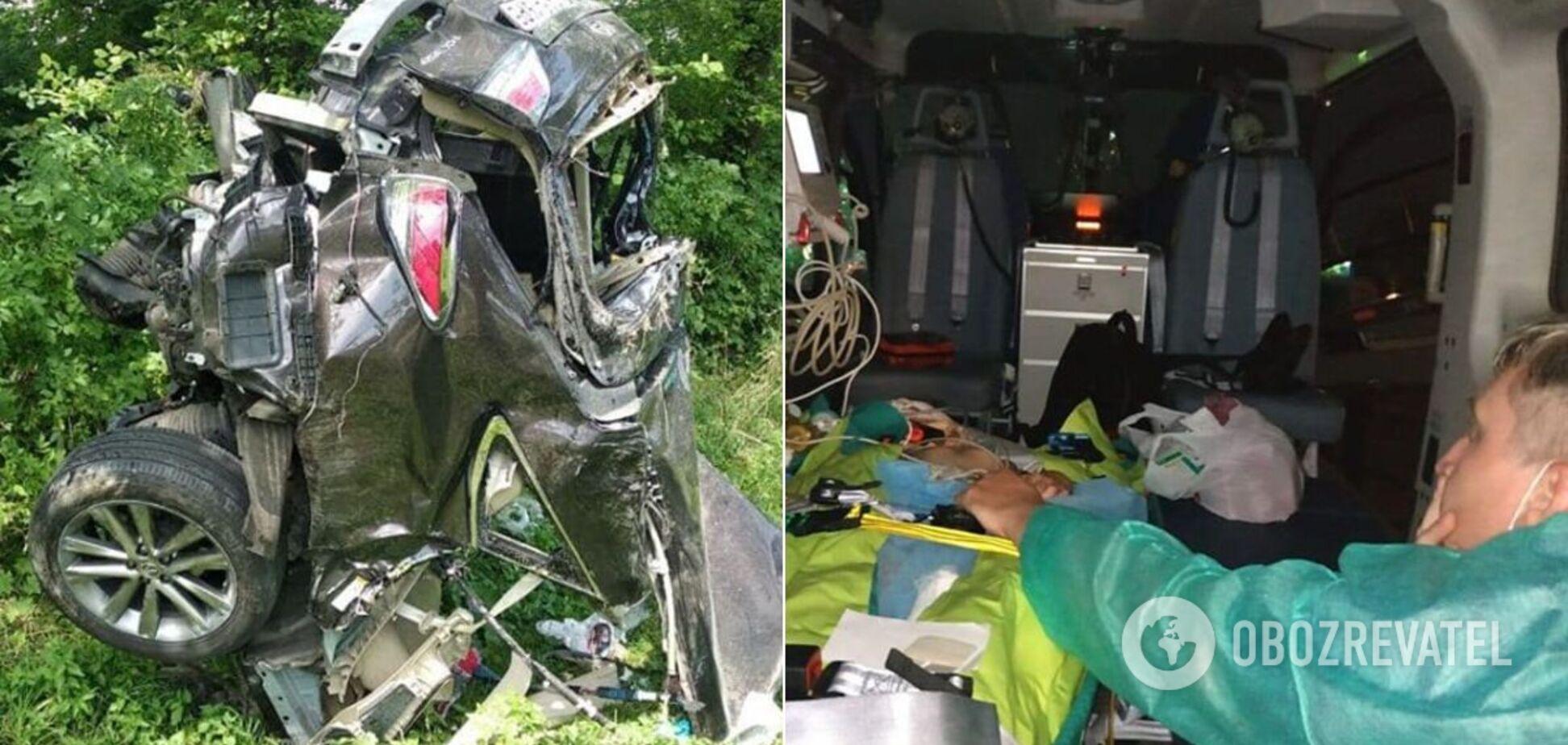 На Львівщині трапилася смертельна ДТП з дітьми: дівчинку в комі доставили до Києва вертольотом. Фото