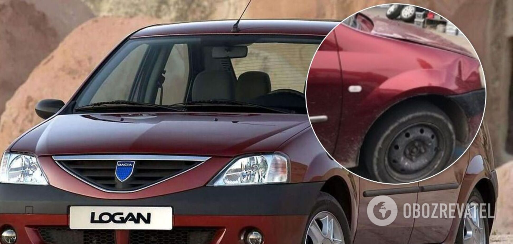 Небезпечне авто: в Києві Dacia Logan здивувала відсутністю шин