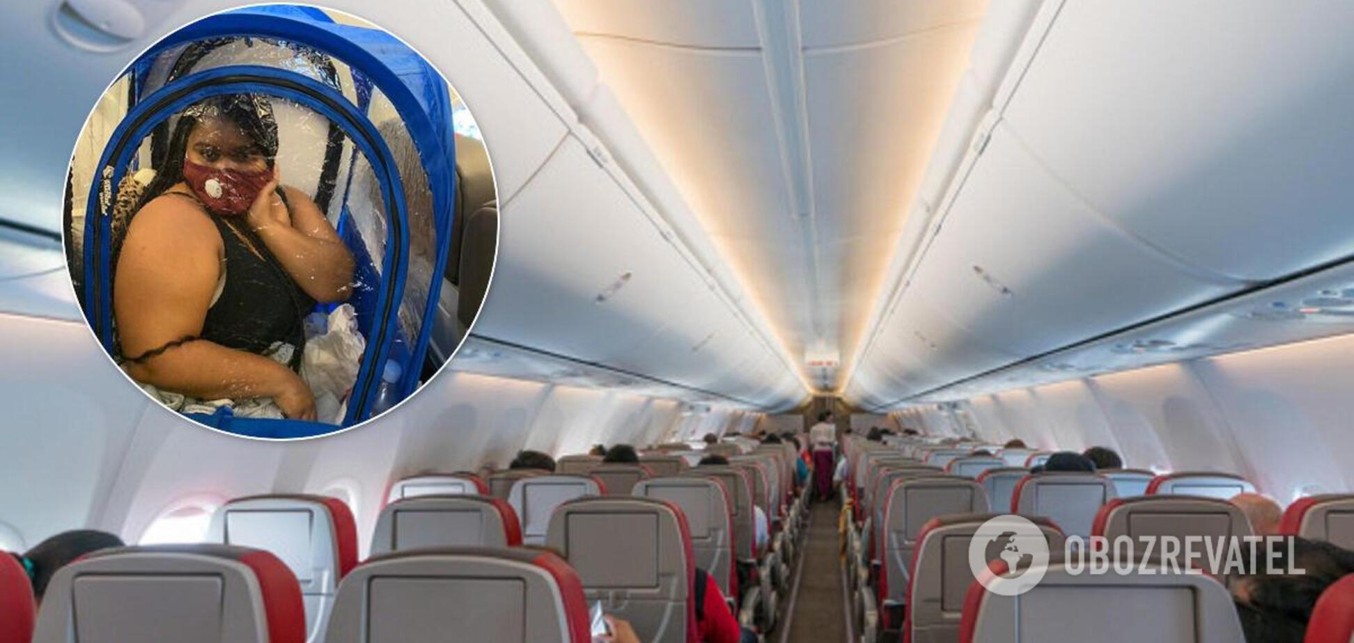 Пассажирка разбила в самолете палатку из-за коронавируса. Фото