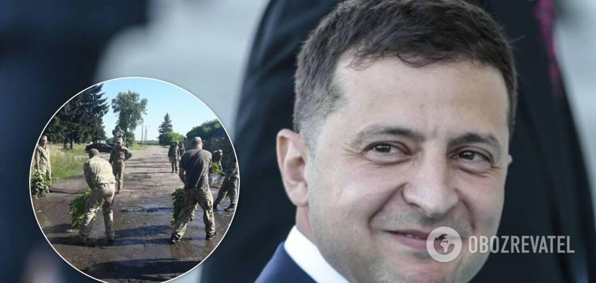 К приезду Зеленского военные сушили лужи в Луцке