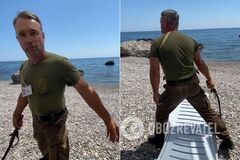 На пляже в Крыму охранник-'казак' напал на семью туристов с нагайкой