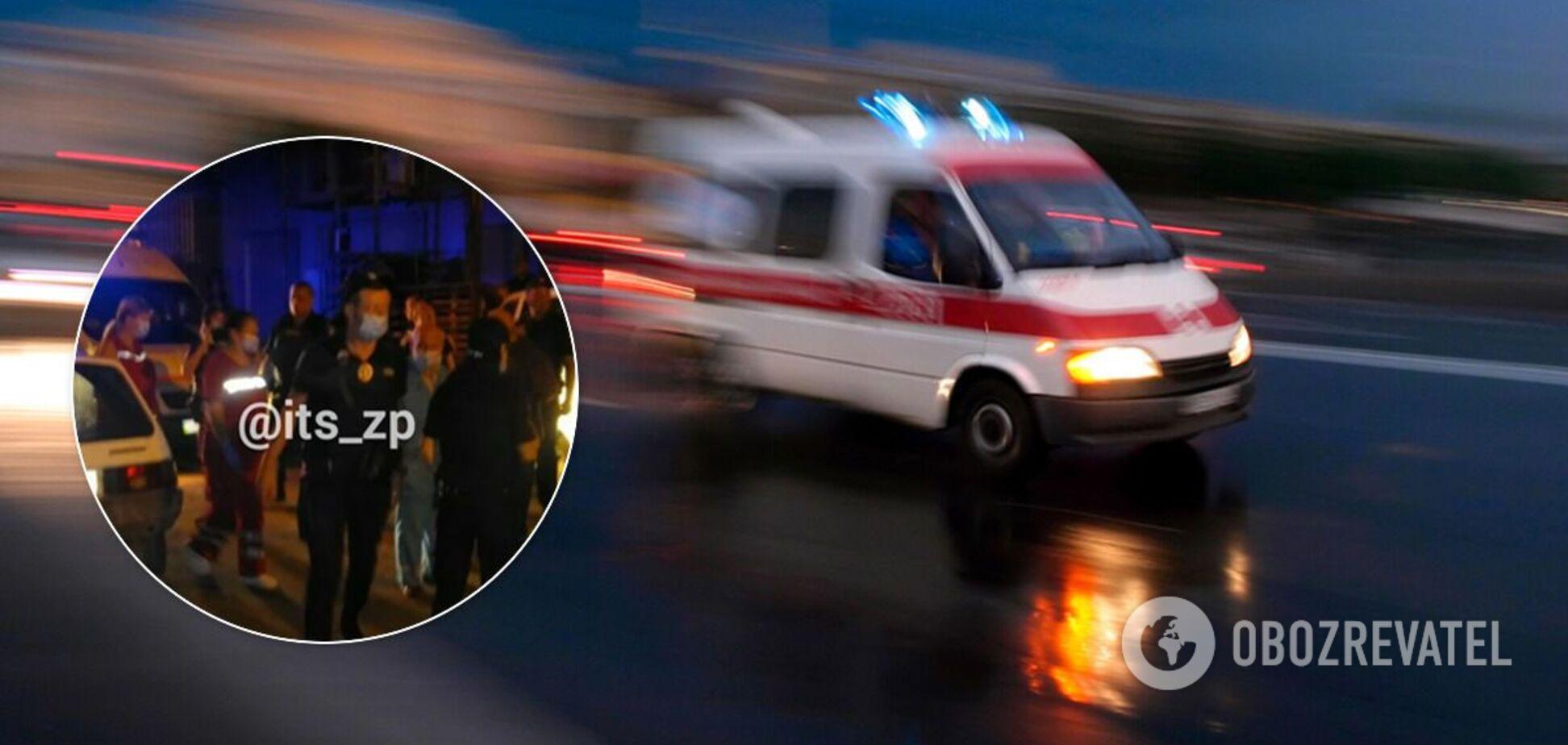 В Запорожье возле супермаркета стреляли в мужчину. Фото и видео 18+