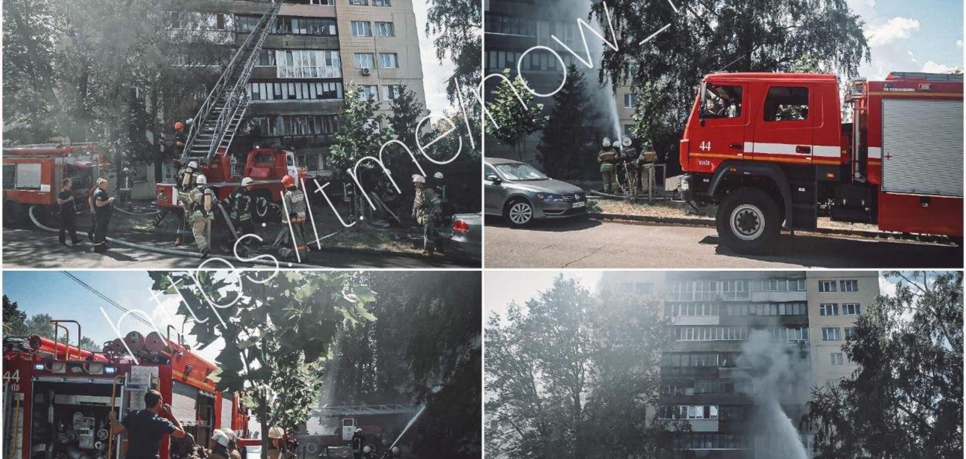 В Киеве в жилом доме произошел масштабный пожар