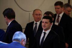 Владимир Зеленский и Владимир Путин на 'нормандской' встрече