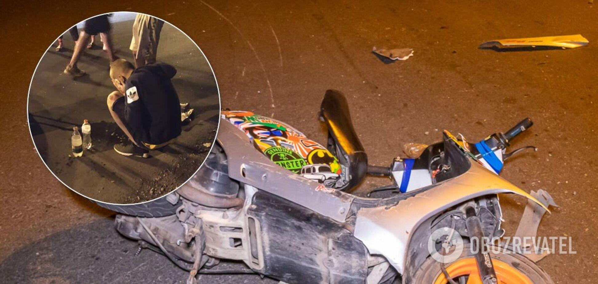У Дніпрі неповнолітні підлітки на скутері зіткнулися з авто: є постраждалий. Фото