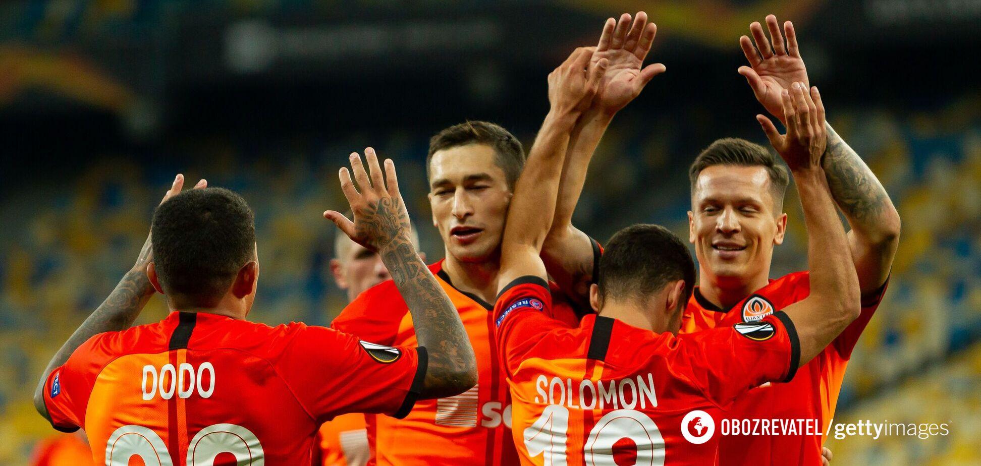 'Шахтар' святкує гол у ворота 'Вольфсбурга'