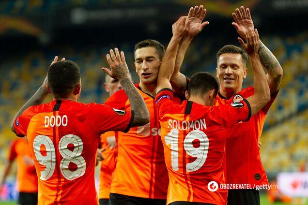 'Шахтер' празднует гол в ворота 'Вольфсбурга'