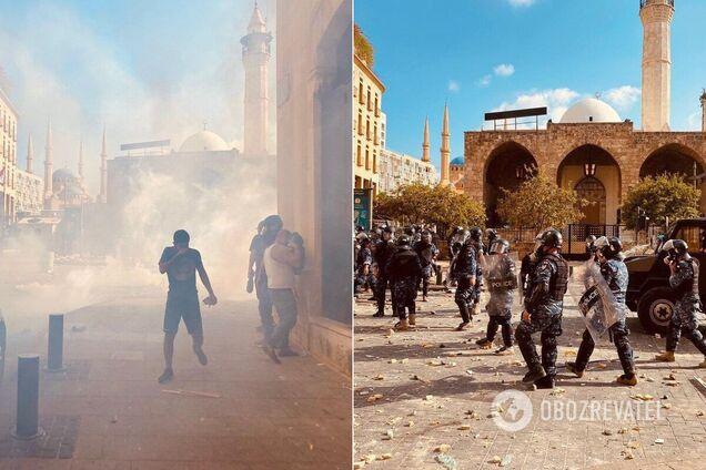 Полиция оттесняет демонстрантов