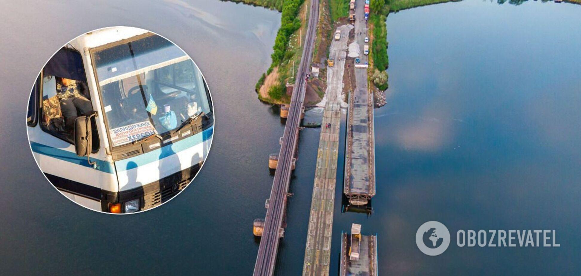 Под Никополем автобус устроил ЧП на переправе на месте рухнувшего моста. Фото и видео