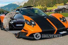 Мощная Audi и редкая Pagani встретились на дороге