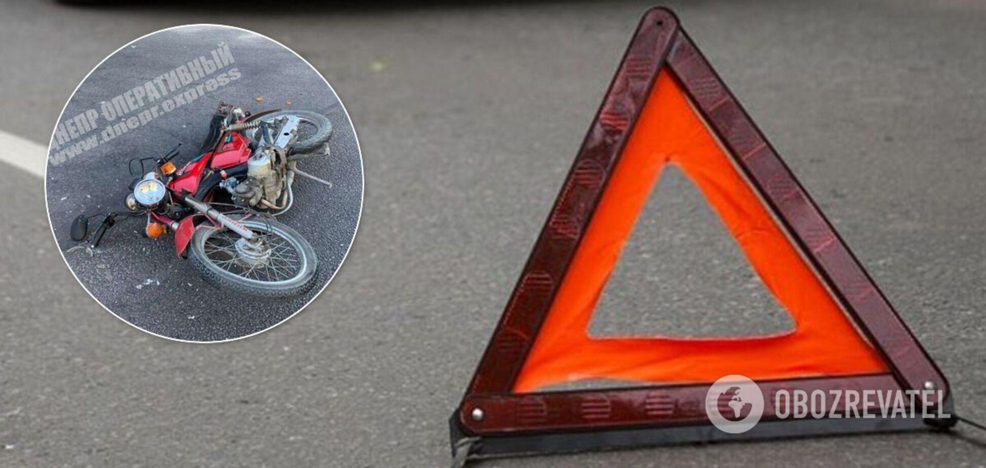 У Дніпрі мотоцикліст потрапив до лікарні після зіткнення з легковиком. Джерело: колаж