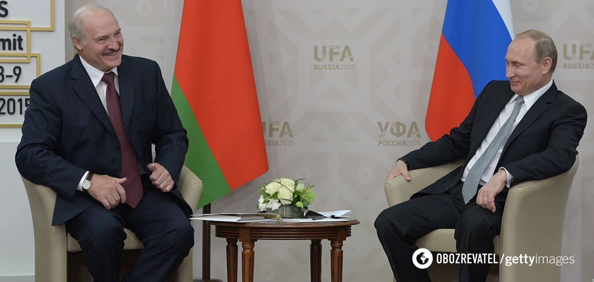 Владимир Путин и Александр Лукашенко на встрече в Сочи