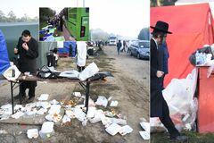В лагере хасидов на границе с Украиной образовались горы мусора. Фото