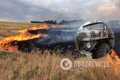 В Луганской области сгорела военная техника