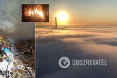 Київ затягнуло туманом та їдким димом: названо причину. Відео