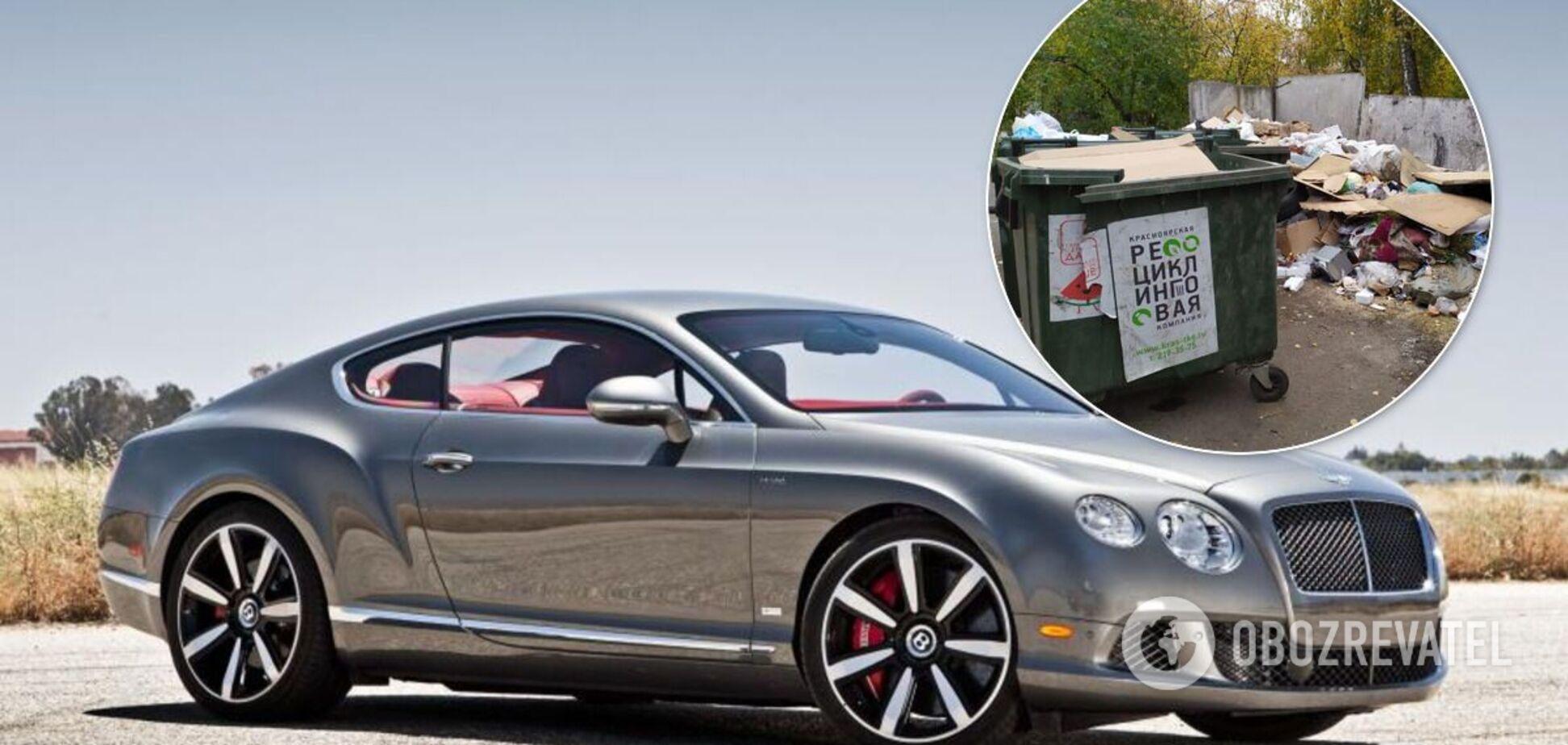 У Києві розкішний Bentley запаркували на звалищі біля купи сміття