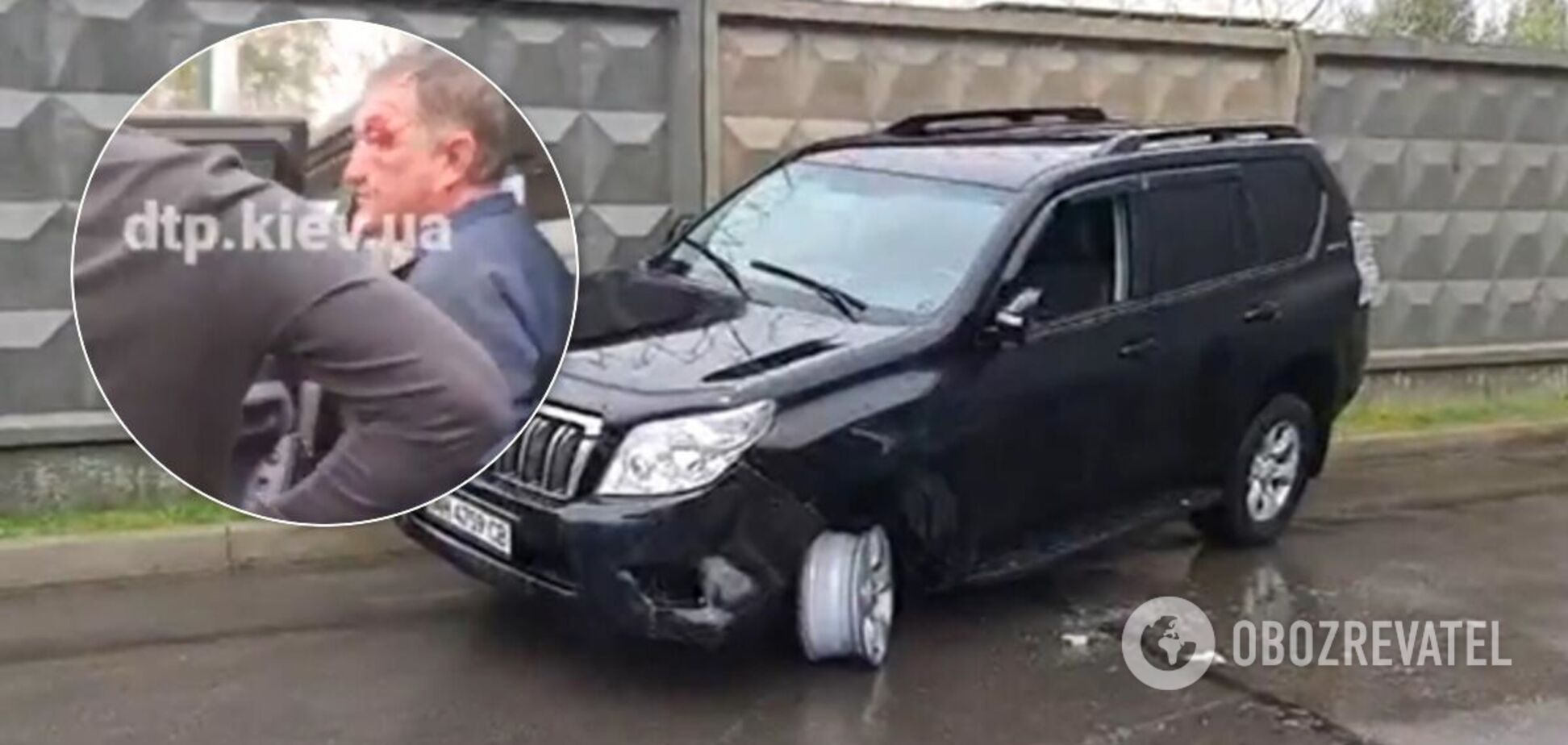 Водій Toyota Prado таранив машини, поки не втратив колесо