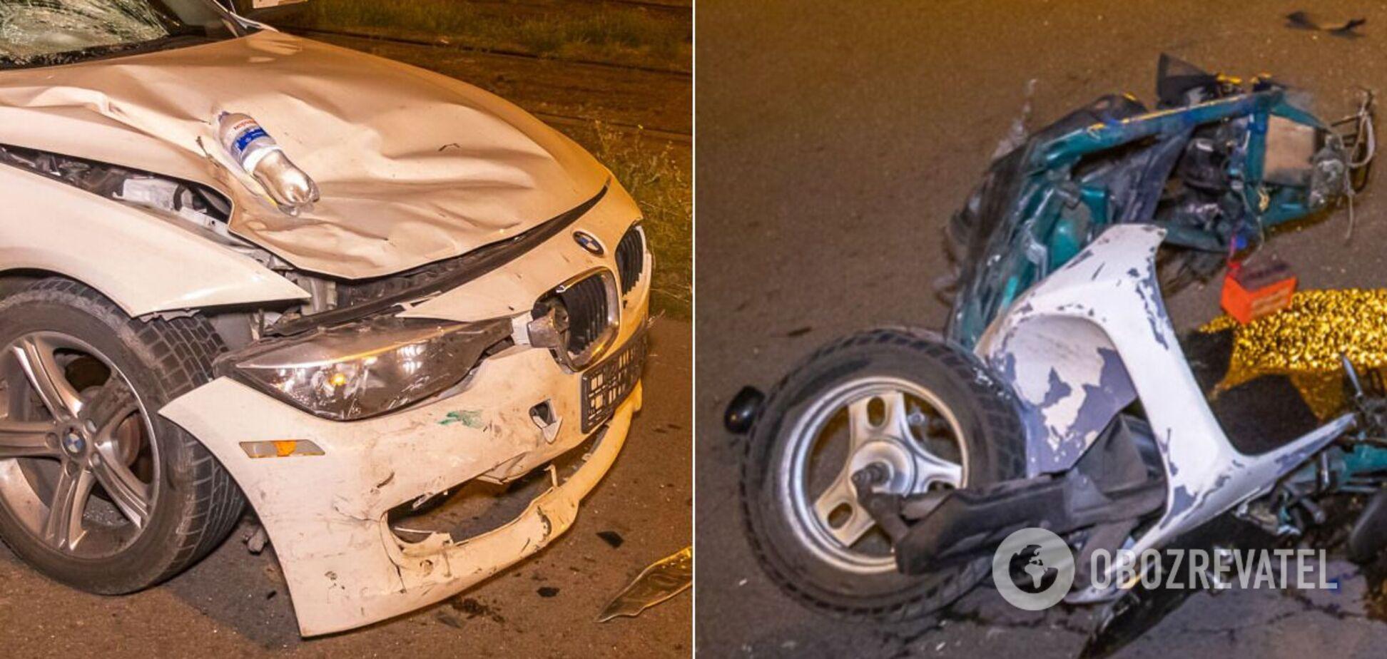 У Дніпрі скутерист зіткнувся з авто і загинув. Фото 18+