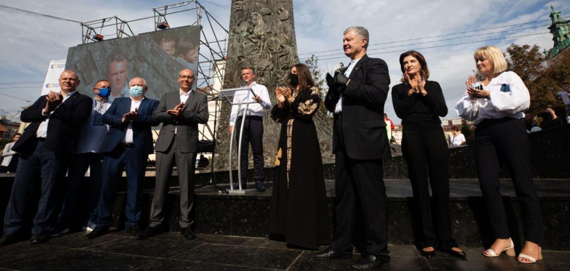 Порошенко на вече поддержал Олега Синютку на должность городского головы Львова
