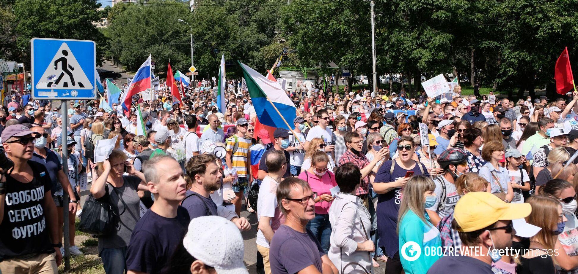 У Хабаровську знову вийшли на мітинг проти Путіна та підтримали Білорусь. Фото і відео