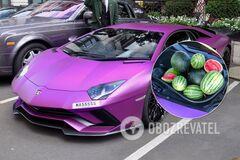 Фиолетовый Lamborghini привлек внимание покупателей