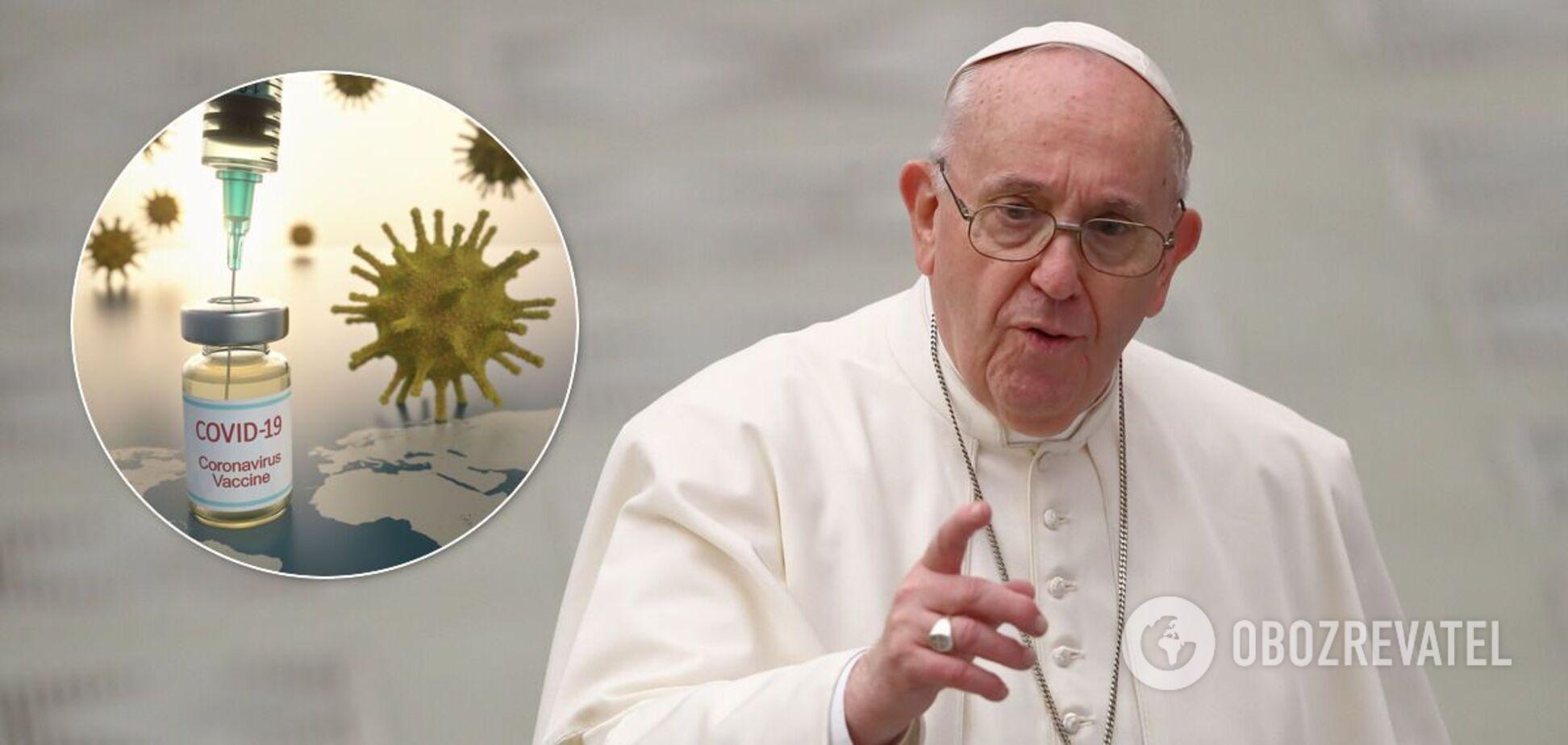 Папа Римський закликав вакцинуватися проти коронавірусу