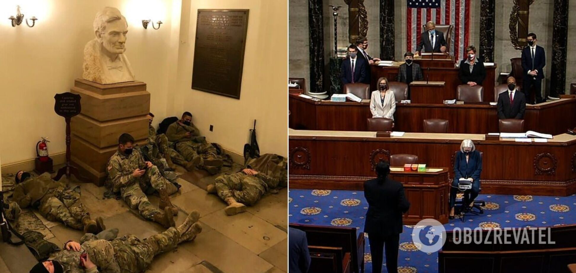 Бойцы Нацгвардии охраняют Капитолий во время заседания Конгресса
