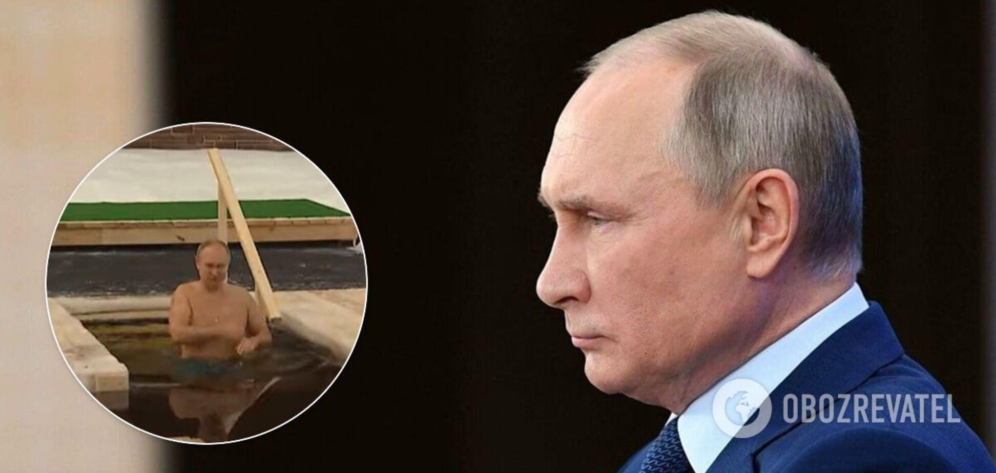 Путин искупался в проруби и нарвался на шутки о показухе и трусах Навального. Видео
