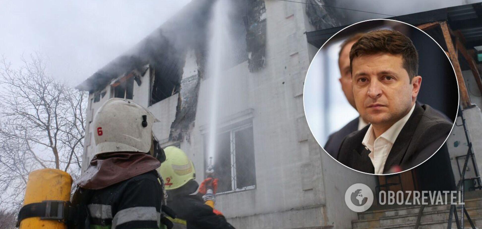 Пожар в доме престарелых в Харькове
