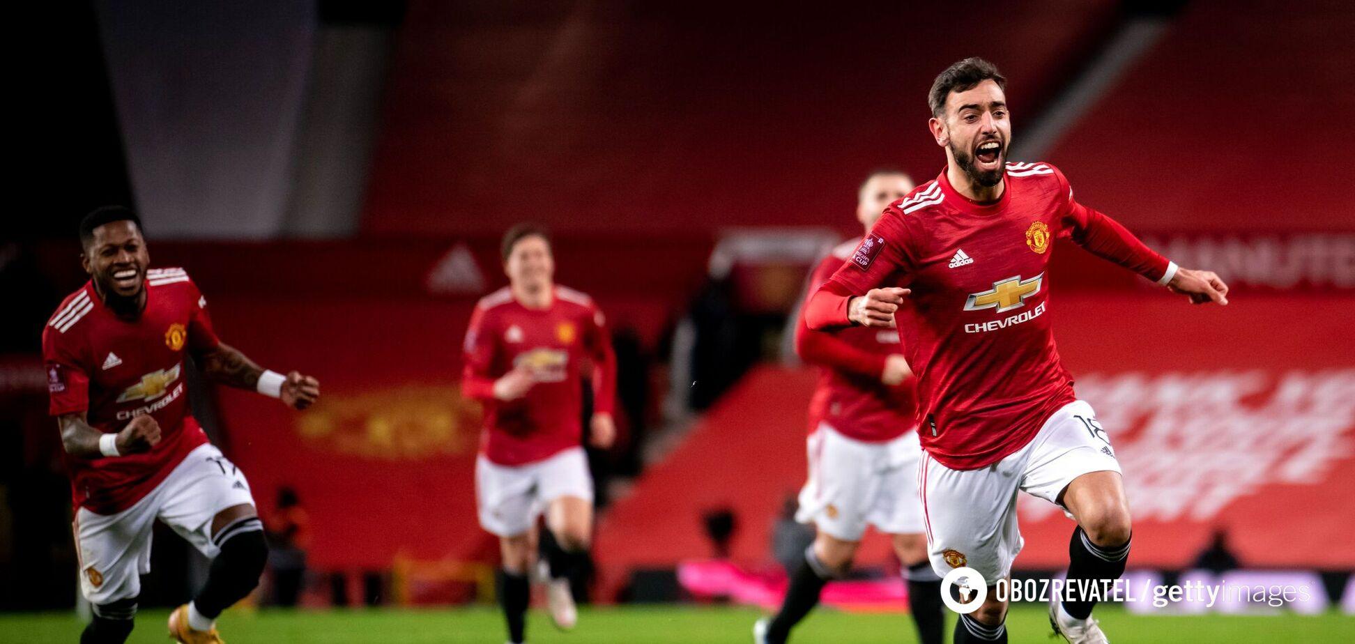 Бруну Фернандеш празднует третий гол в матче с 'Ливерпулем'