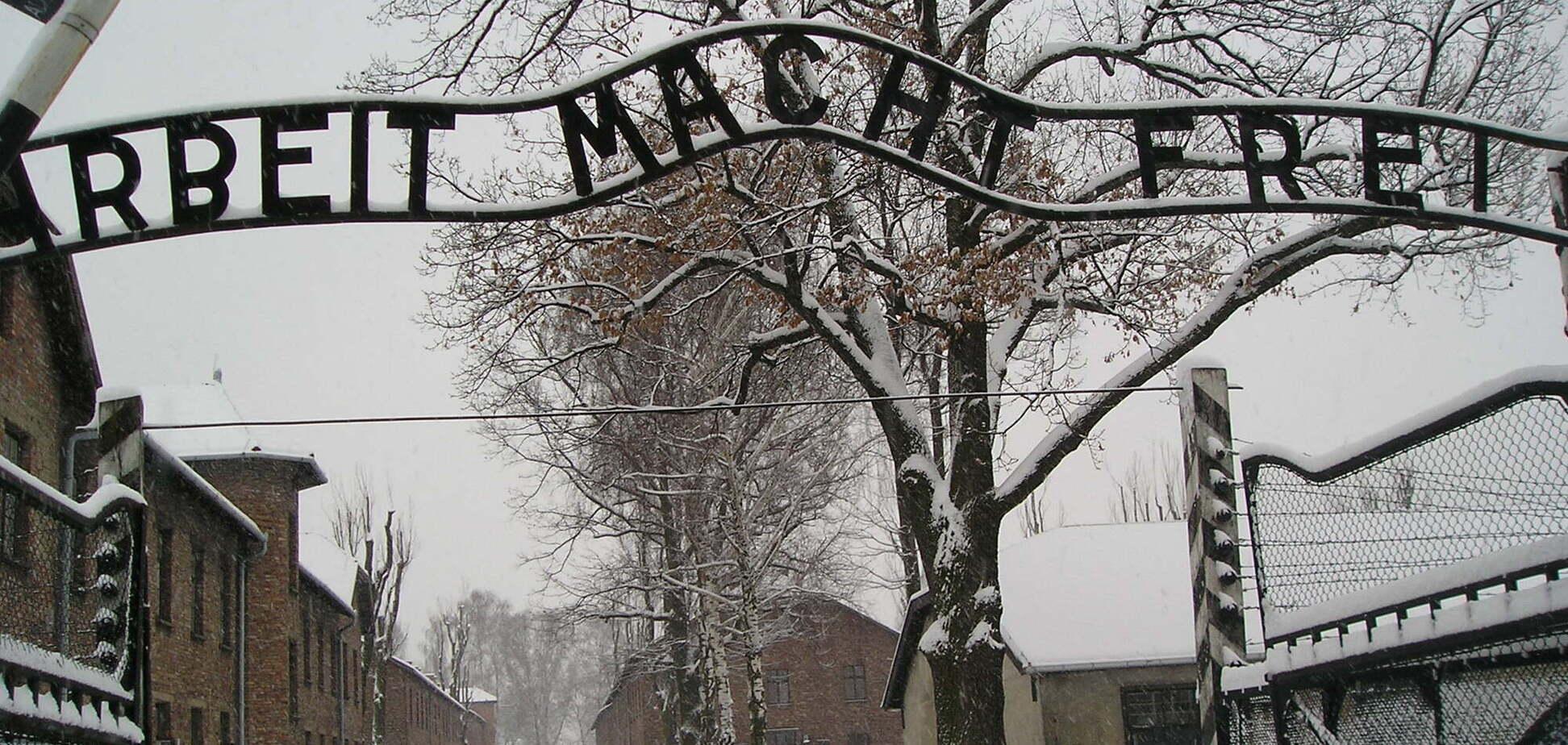 Ворота Освенцима з написом 'Праця звільняє'