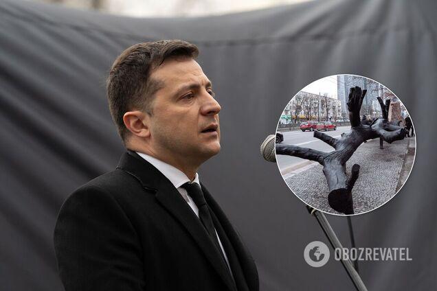 Зеленский открыл в Киеве инсталляцию ко Дню памяти жертв Холокоста. Фото