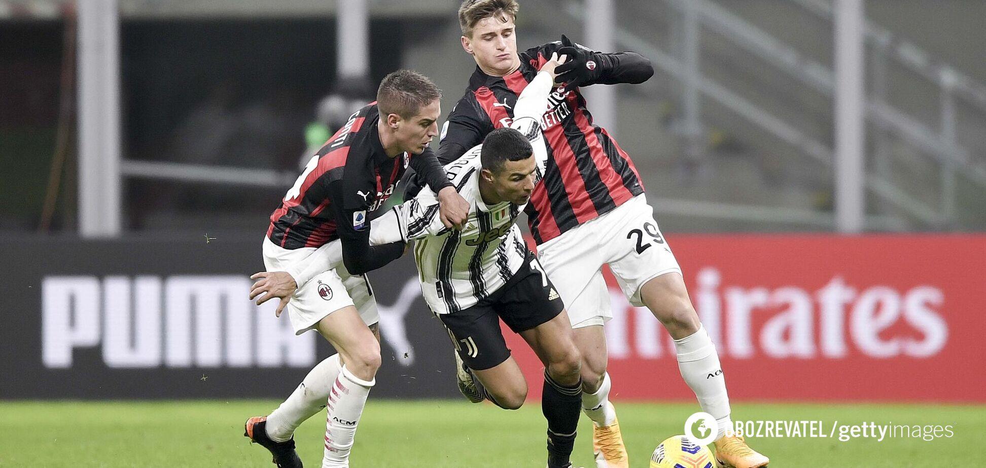 Криштиану Роналду против двух игроков 'Милана'