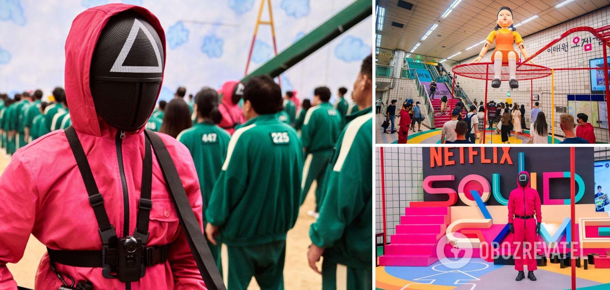 Оживили світ 'Ігри в кальмара': метро в Сеулі оформили в стилі серіалу. Фото і відео