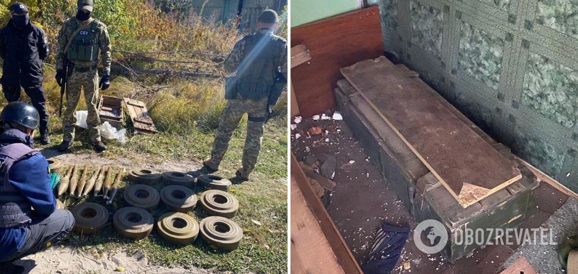 СБУ выявила на Луганщине схрон боевиков 'ЛНР' с минами и гранатами. Фото
