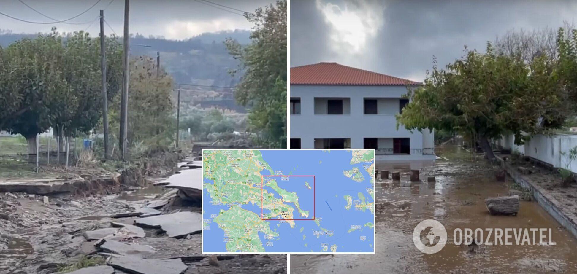 Грецький острів Евбея, де вирували пожежі, затопило після потужних злив. Фото та відео