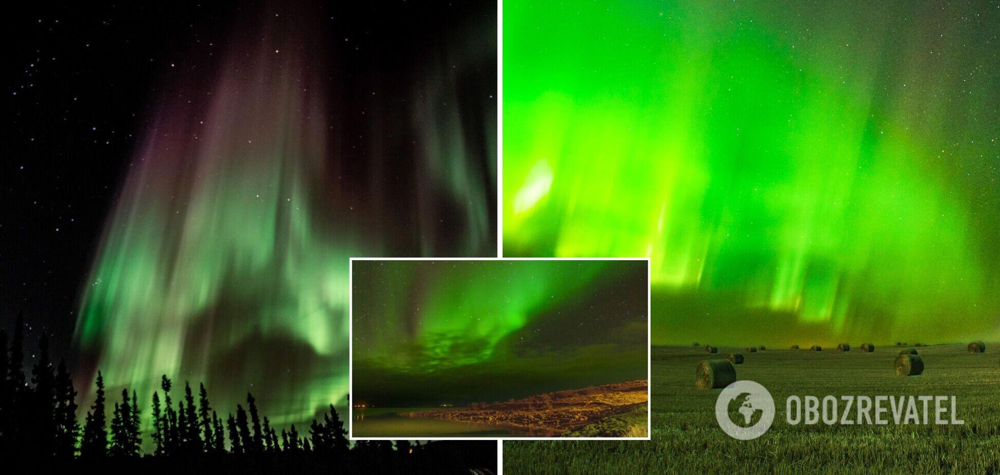 Небо набуло зеленуватого відтінку: в мережі показали яскраві фото полярного сяйва
