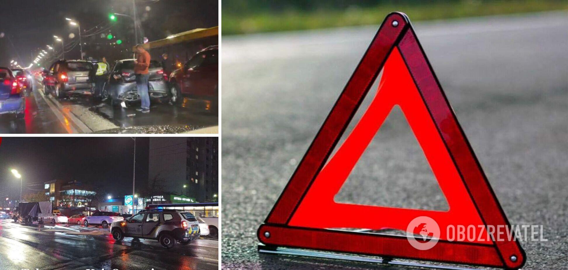 В Киеве на Харьковском шоссе столкнулись семь авто. Фото и видео с места аварии