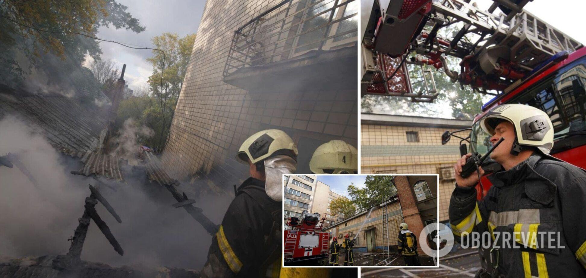 У Києві спалахнула пожежа в Інституті урології: пацієнтів виводили з будівлі. Фото